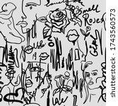 grunge wallpaper with white... | Shutterstock .eps vector #1743560573
