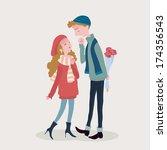valentine's day lover | Shutterstock .eps vector #174356543