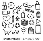 mega collection of doodle items.... | Shutterstock .eps vector #1743578729