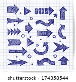pen sketch arrow collection for ... | Shutterstock .eps vector #174358544