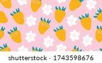 kids hand drawn summer seamless ... | Shutterstock .eps vector #1743598676