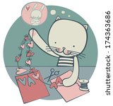 cat cuts paper hearts for his... | Shutterstock .eps vector #174363686