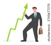 businessman with graph in... | Shutterstock .eps vector #1743677270