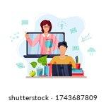 online education  home... | Shutterstock .eps vector #1743687809