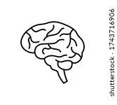 human brain outline icon.... | Shutterstock .eps vector #1743716906