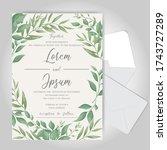 greenery wedding invitation... | Shutterstock .eps vector #1743727289