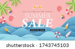 summer sale design with paper... | Shutterstock .eps vector #1743745103