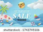 summer sale design with paper... | Shutterstock .eps vector #1743745106