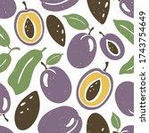 cute plum seamless pattern....   Shutterstock .eps vector #1743754649