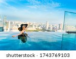 young woman in a roof top... | Shutterstock . vector #1743769103