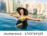 young woman in a roof top... | Shutterstock . vector #1743769109