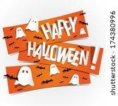 happy halloween card with bats... | Shutterstock .eps vector #174380996