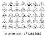 cartoon face eye. funny face...   Shutterstock . vector #1743813689