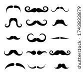 set of black mustache vector...   Shutterstock .eps vector #1743833879