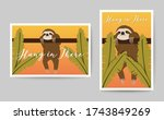 hanging sloth with 'hang in... | Shutterstock .eps vector #1743849269