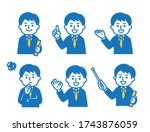 6 different pose sets for suit... | Shutterstock .eps vector #1743876059