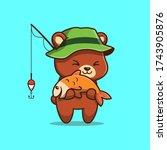 Cute Bear Fishing Vector Icon...