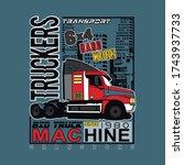 cartoon semi truck. vector... | Shutterstock .eps vector #1743937733