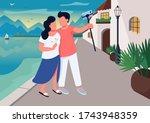 couple date in resort village... | Shutterstock .eps vector #1743948359