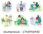 working online at home. or...   Shutterstock .eps vector #1743956930