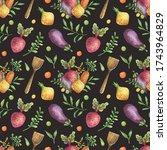 watercolor seamless pattern of ...   Shutterstock . vector #1743964829