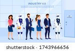 robots and people stand in line ... | Shutterstock .eps vector #1743966656