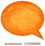 orange watercolor empty speech... | Shutterstock . vector #174398300