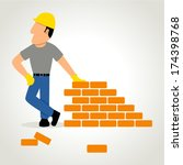 simple cartoon of a builder... | Shutterstock .eps vector #174398768