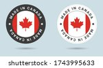 set of two canadian stickers.... | Shutterstock .eps vector #1743995633