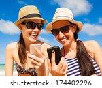 Pretty Girls Using Smart Phone...