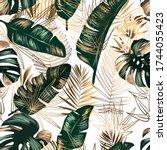 golden and green tropical... | Shutterstock .eps vector #1744055423