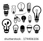bulb icon set | Shutterstock .eps vector #174406106