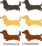 set of flat colored miniature... | Shutterstock .eps vector #1744063043