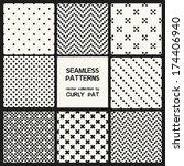 vector set of eight seamless... | Shutterstock .eps vector #174406940