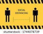 social distancing banner ... | Shutterstock .eps vector #1744078739
