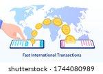 world money transfer. hands... | Shutterstock .eps vector #1744080989