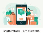 people shopping groceries...   Shutterstock .eps vector #1744105286