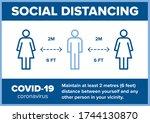 social distancing 2m meter 6... | Shutterstock .eps vector #1744130870