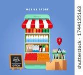 online grocery store shopping...   Shutterstock .eps vector #1744135163