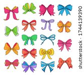 set of cute multicolor bows for ... | Shutterstock .eps vector #1744139390