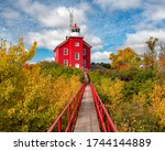 Marquette Harbor Lighthouse. A Sunny Autumn Day in Upper Michigan