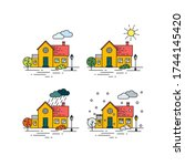 four seasons vector... | Shutterstock .eps vector #1744145420
