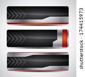 banner set   metallic and... | Shutterstock . vector #174415973