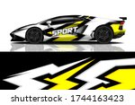 sports car wrapping decal design | Shutterstock .eps vector #1744163423