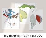 abstract hand drawn vector... | Shutterstock .eps vector #1744166930