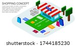 shopping concept with shop ... | Shutterstock .eps vector #1744185230