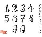 vector set of vintage numbers | Shutterstock .eps vector #174419999