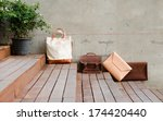 fashion leather bags on grunge... | Shutterstock . vector #174420440