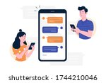 chat messages smartphone  sms... | Shutterstock .eps vector #1744210046