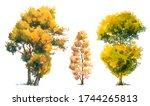 set of watercolor trees in...   Shutterstock . vector #1744265813